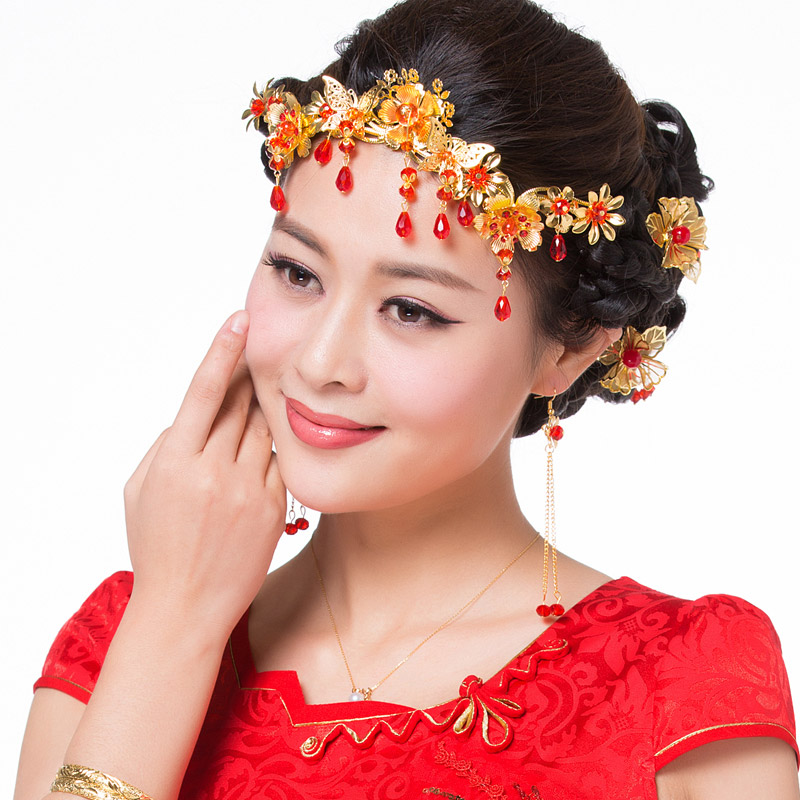 Bride red coronet costume headdress hair accessories wedding gown dragon xiu chinese wedding accessories