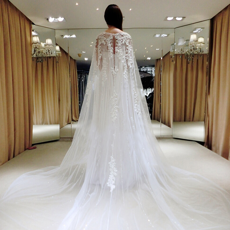 Bride wedding dress 2016 autumn and winter new korean word shoulder shoulder long sleeve lace small tail with a shawl