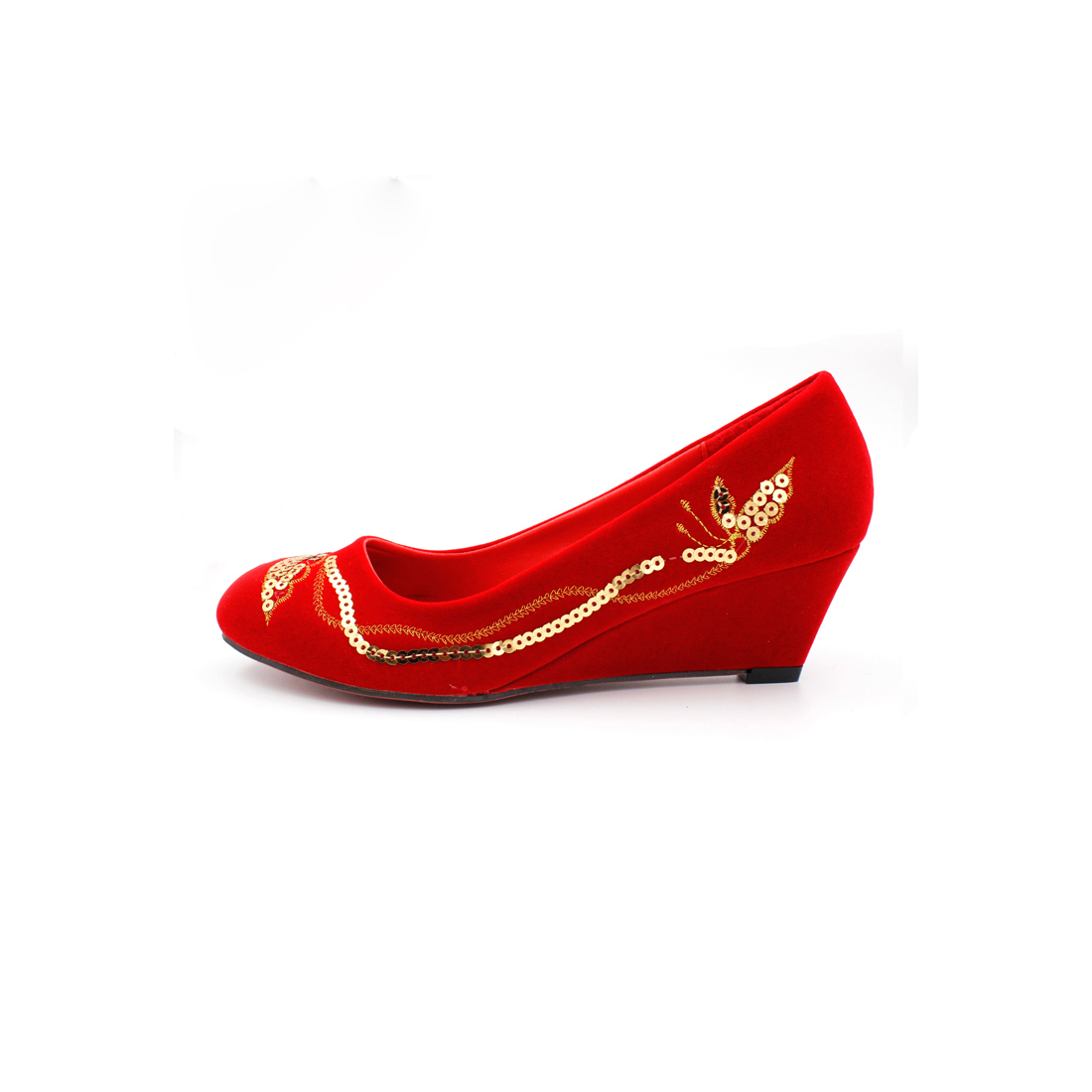 Bride wedding dress shoes red chinese xiu clothing cheongsam dress embroidered shoes wedding shoes slope with sequined shoes shoes female models