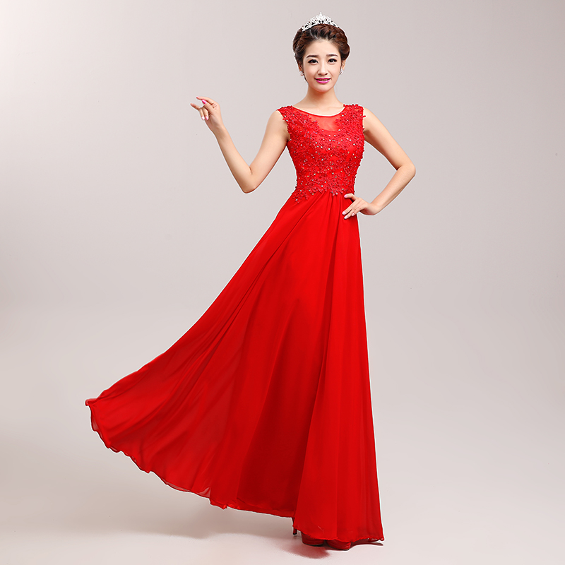 Bride wedding toast clothing evening dress 2016 new bride dress red wedding dress toast clothing long section