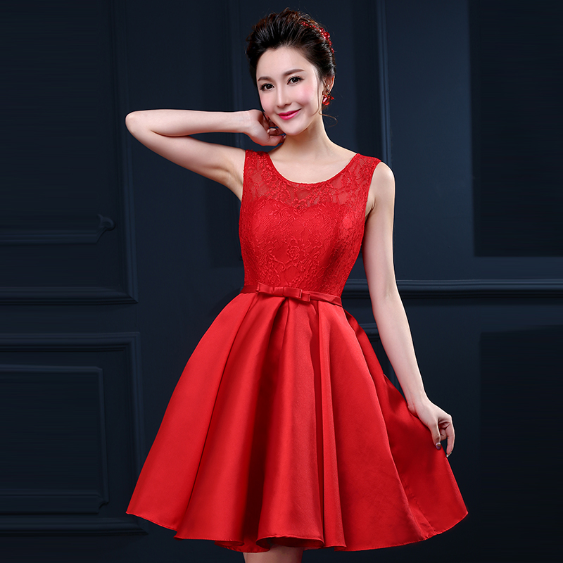 Bride wedding toast clothing red evening dress short paragraph big yards short skirt bridesmaid dresses for pregnant women wedding dress mini dress women