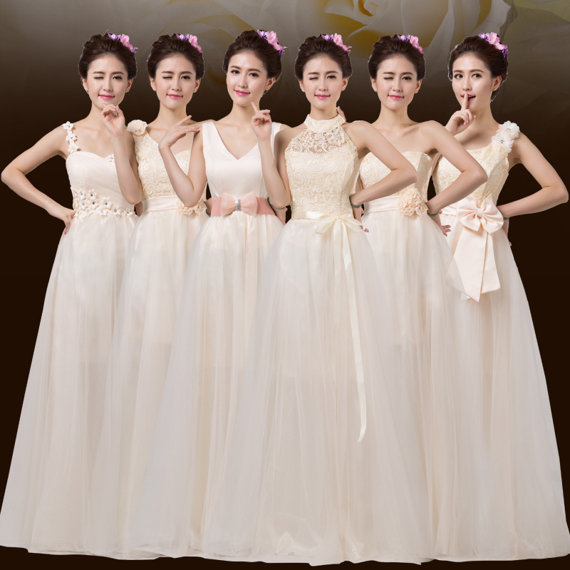 Bridesmaid dresses 2016 new long section of shoulder evening dress bridesmaid dress bride wedding banquet evening dress bridesmaid group