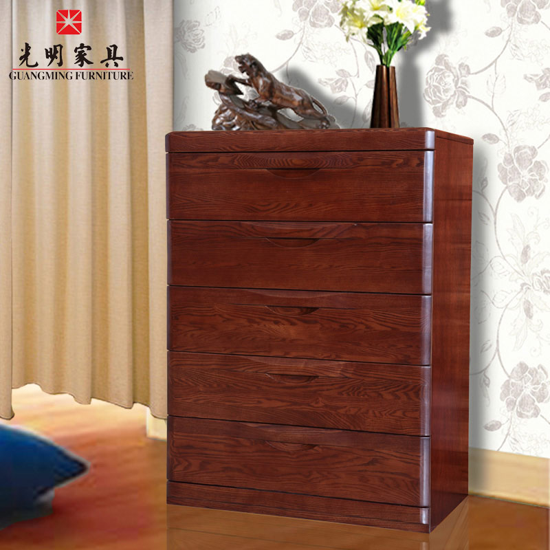 Bright furniture ash solid wood chest of drawers modern chinese solid wood furniture chest of drawers chest of drawers chest of drawers