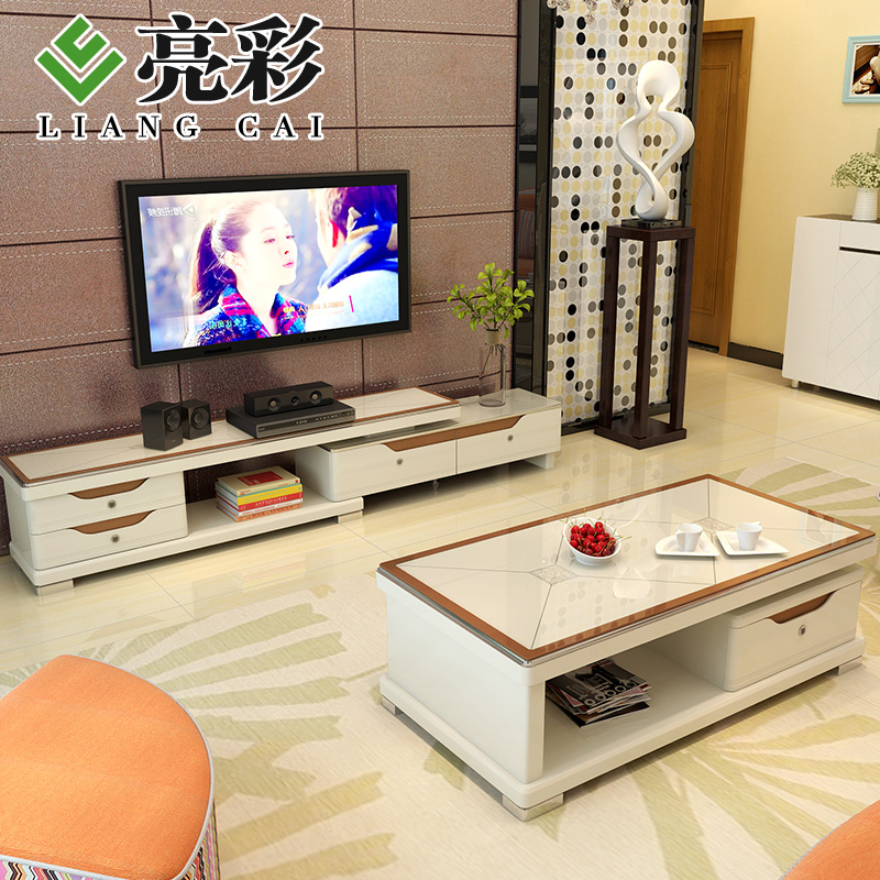 Brightly colored new modern minimalist multi drawer tv cabinet coffee table combination living room furniture paint furniture