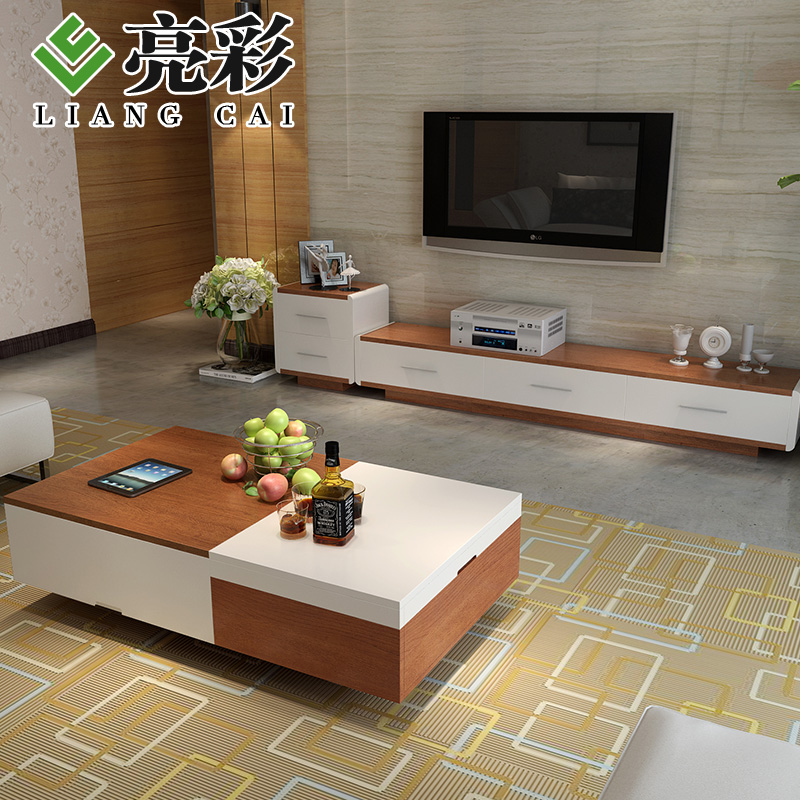 Brightly colored wood color combination of modern living room tv cabinet minimalist tv cabinet tv cabinet coffee table sets + coffee table + 3 pieces of drawers