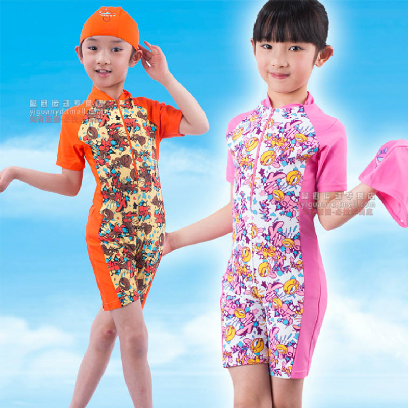 British children's swimming clothes suit boys and girls sunscreen child with a swimming cap piece swimsuit girls hot springs resort