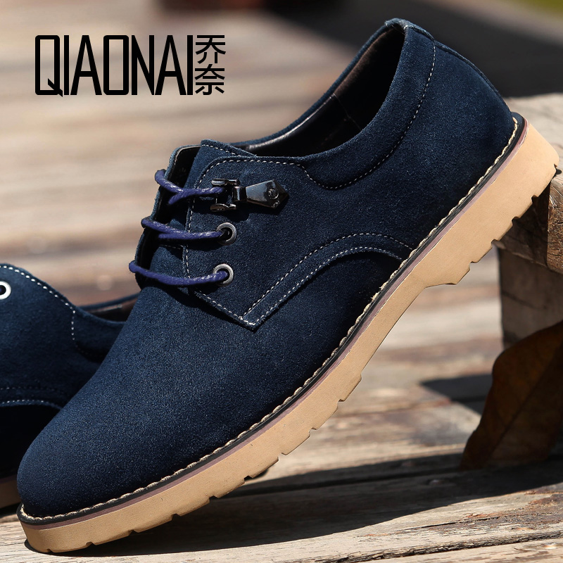 ä¹å¥british cow suede leather men's casual shoes within the higher invisible elevator shoes men fall 6cm shoes