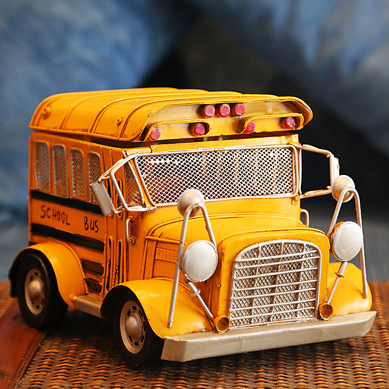 British retro bus model 1元shop creative study small ornaments crafts furnishings cafe software installed decorative storage