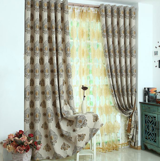 Britney flowers damascus european linen jacquard thick full blackout curtains living room bedroom curtains custom windows