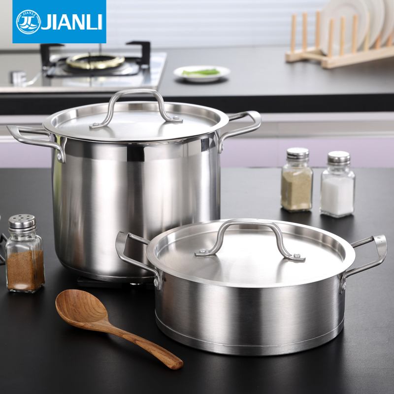 Built liesl large capacity stainless steel stockpot thick double bottom household cooker pot ears pot 24 cm