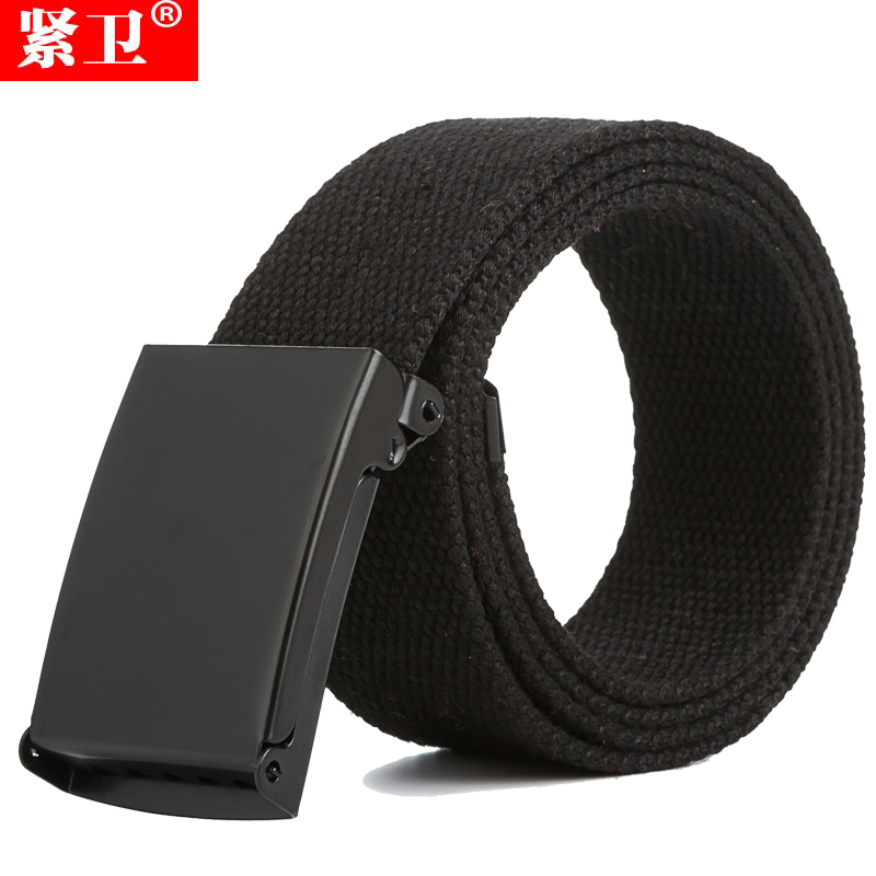 Buku solid buckle closure tight guard men and women weave canvas belt with a black canvas belt casual student