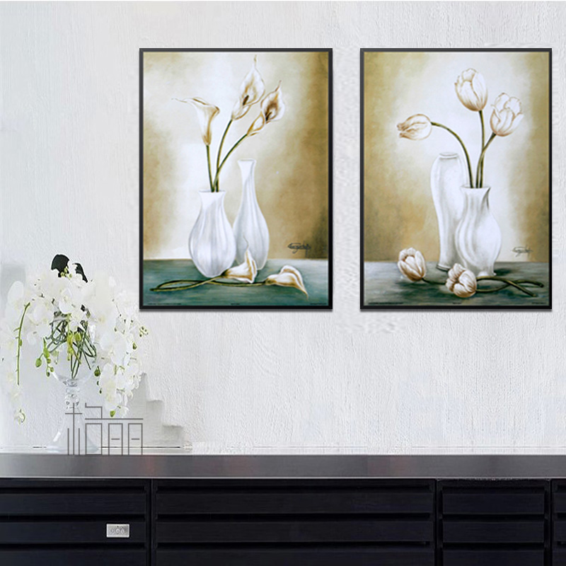 Bulgari restaurant entrance floral art painting wood framed painting decorative painting modern minimalist abstract paintings