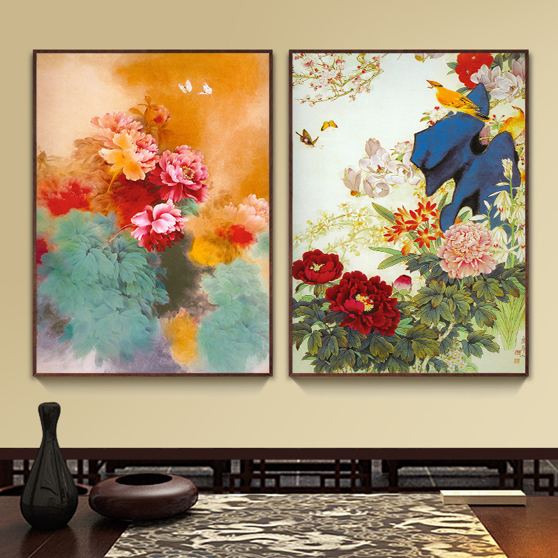 Bulgari wood framed painting decorative painting the living room chinese restaurant dielian peony flower paintings wall painting blossoming
