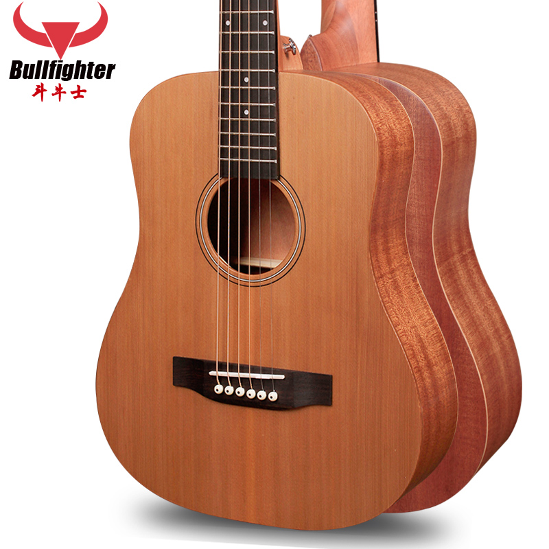 Bullfighters 34 inch veneer travel guitar small children pine veneer acoustic guitar electric box gift package