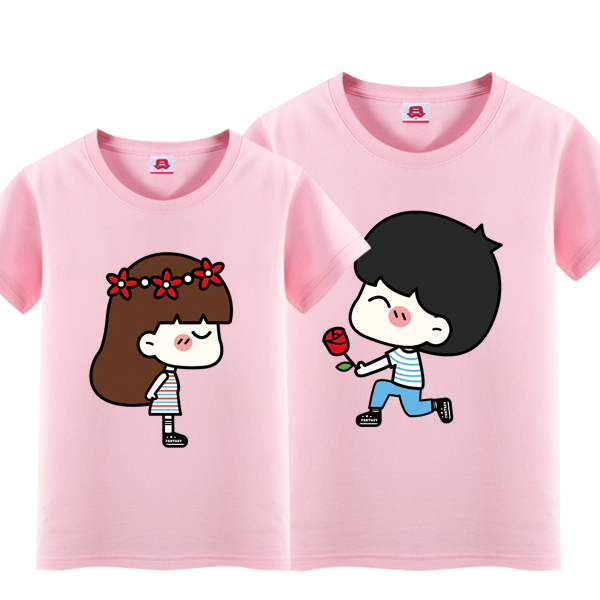 Bus dream summer new suitor wedding dblove cartoon male and female couple short sleeve t-shirt 012