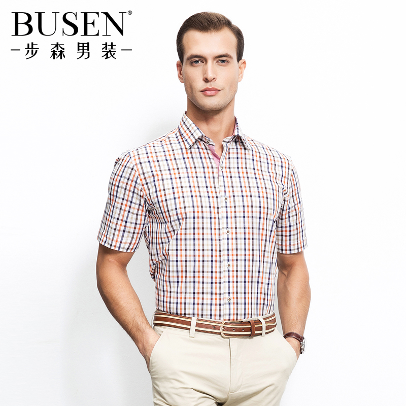 Busen/busen 2016 summer new men's vitality plaid short sleeve shirt men breathable cotton shirt