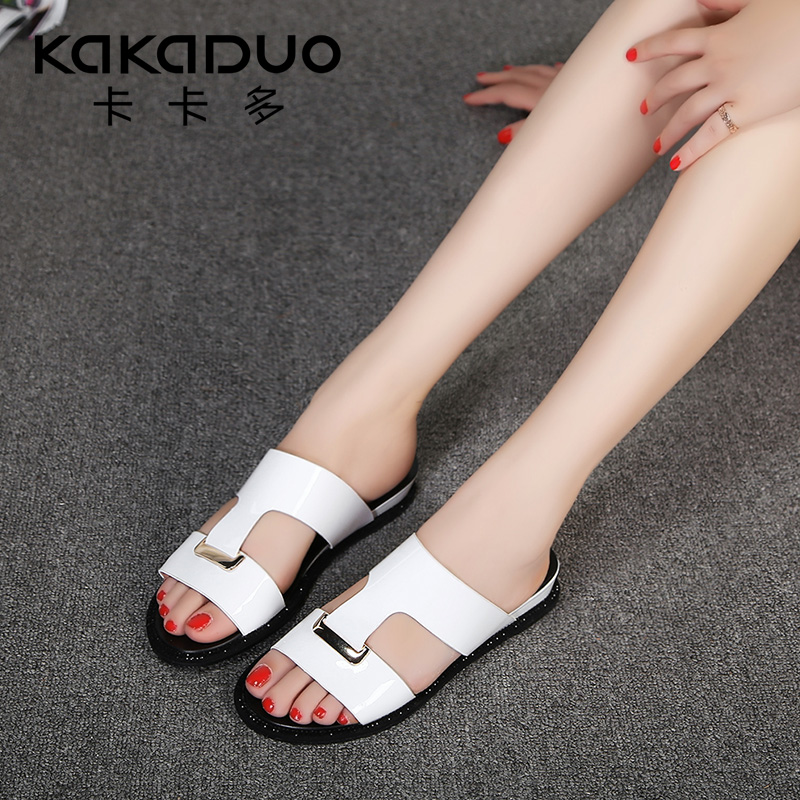 Cacador 2016 fashion outer wear sandals and slippers female summer flat sandals leather sandals and slippers word drag sandals and slippers female Seaside