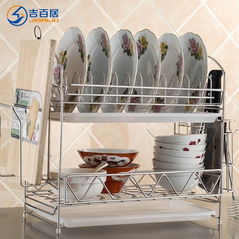 Cadbury ranks stainless steel storage rack drain rack dish rack 304 stainless steel double dish rack dish rack drain