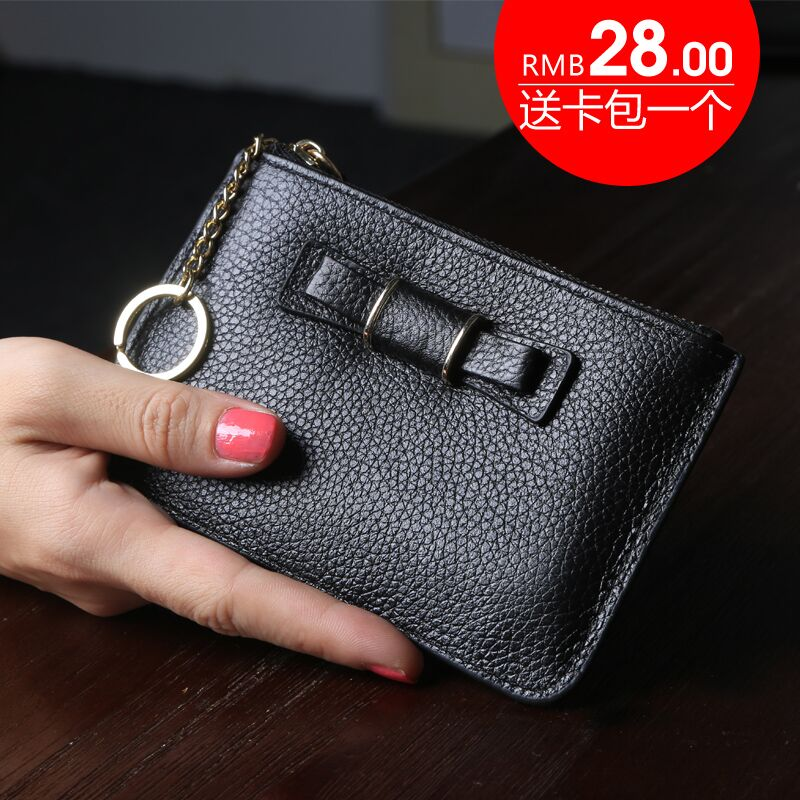 Cadillac lounds 2016 simple slim bow short paragraph zipper wallet women leather wallet coin purse