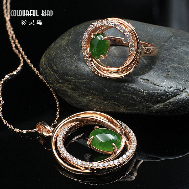 Cai ling birds genuine natural a cargo jade and nephrite jade jasper pendant 925 silver ring ring pendant set
