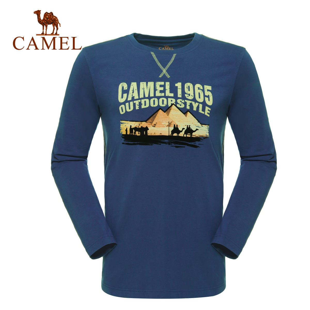 Camel camel outdoor leisure clothing men's everyday foot leisure simple round neck long sleeve t-shirt cotton t