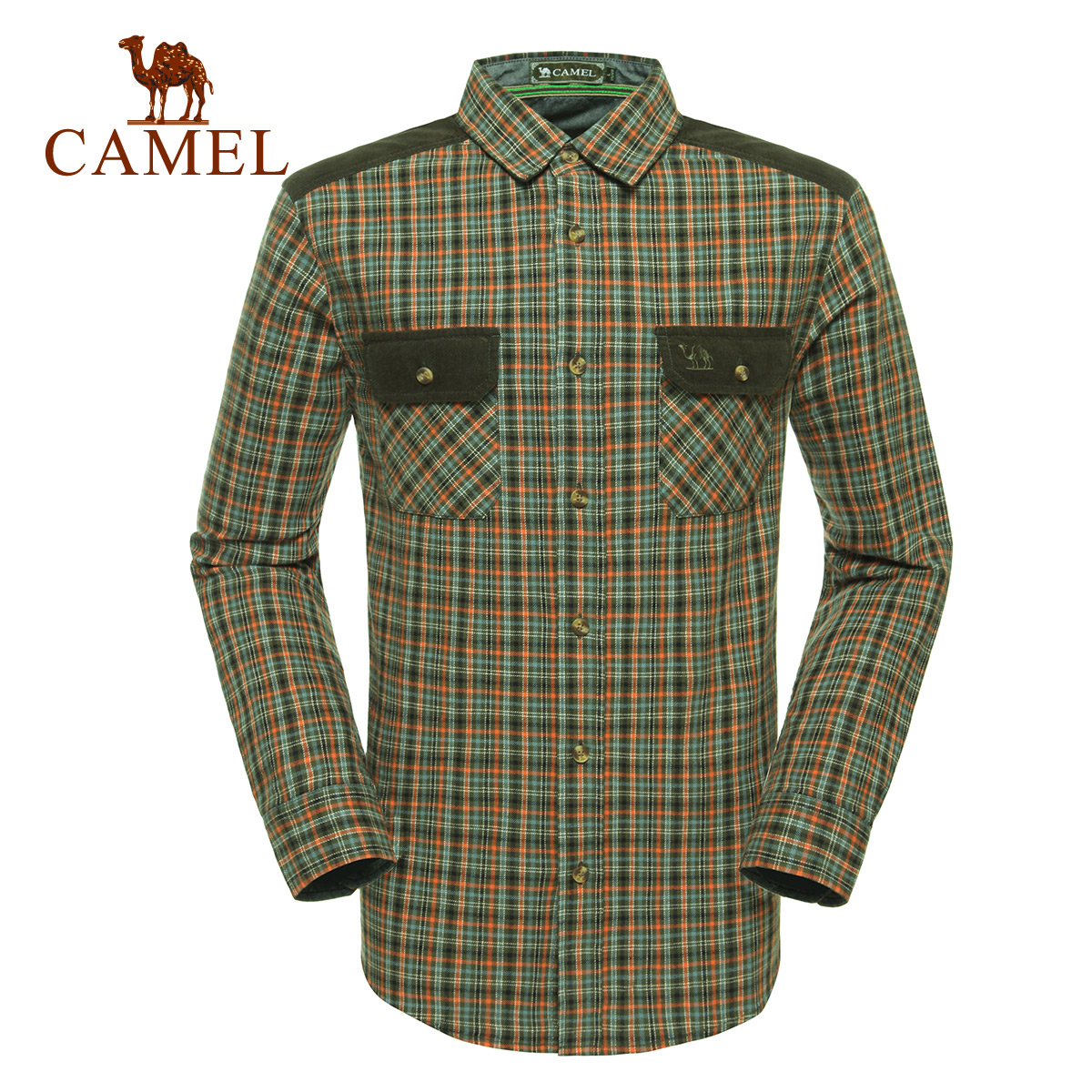 Camel camel outdoor leisure clothing men's long sleeve lapel simple casual plaid cotton shirt