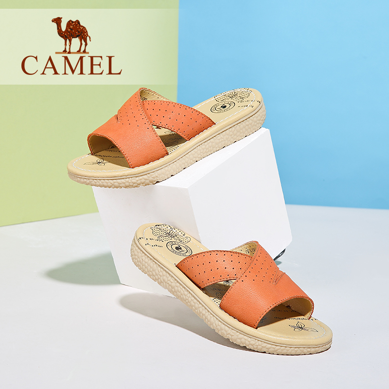 Camel casual comfort shoes sandals 2016 summer new leather sandals low heel flat sandals women