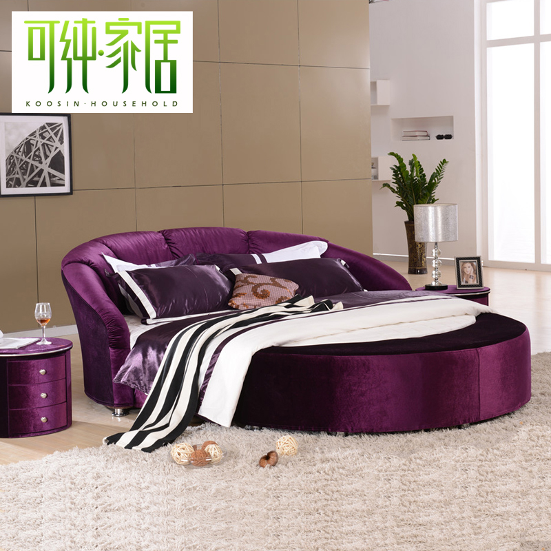 Can be pure fabric bed round bed double bed modern minimalist fashion marriage bed small apartment washable b6008