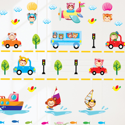Can be removed and creative armed cartoon wallpaper adhesive sticker kindergarten children's room decor bedroom wall stickers