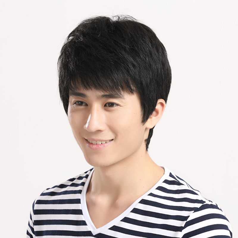 Can liss real hair wig short hair male hair handsome male korean youth male human hair wig lifelike l107