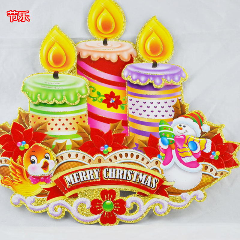Candles christmas bells christmas decorations door stickers window stickers window sticker deer pulling santa claus boots