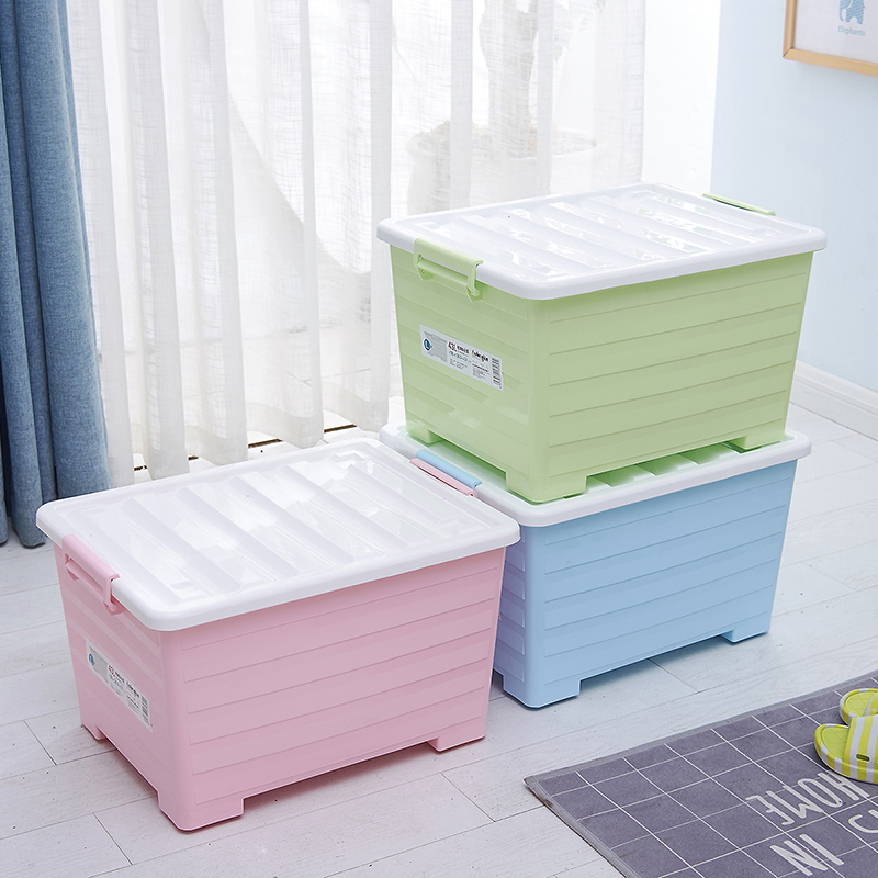 Candy colored plastic storage box with lid pulley sorting box storage box underwear wardrobe toy zero food storage box