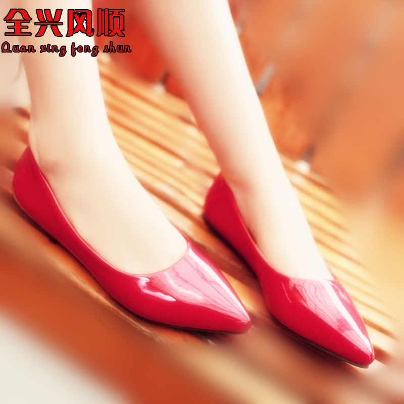 Candy colored wedding shoes red wedding shoes wedding shoes red patent leather flat pointed shallow mouth shoes low heel bridal shoes
