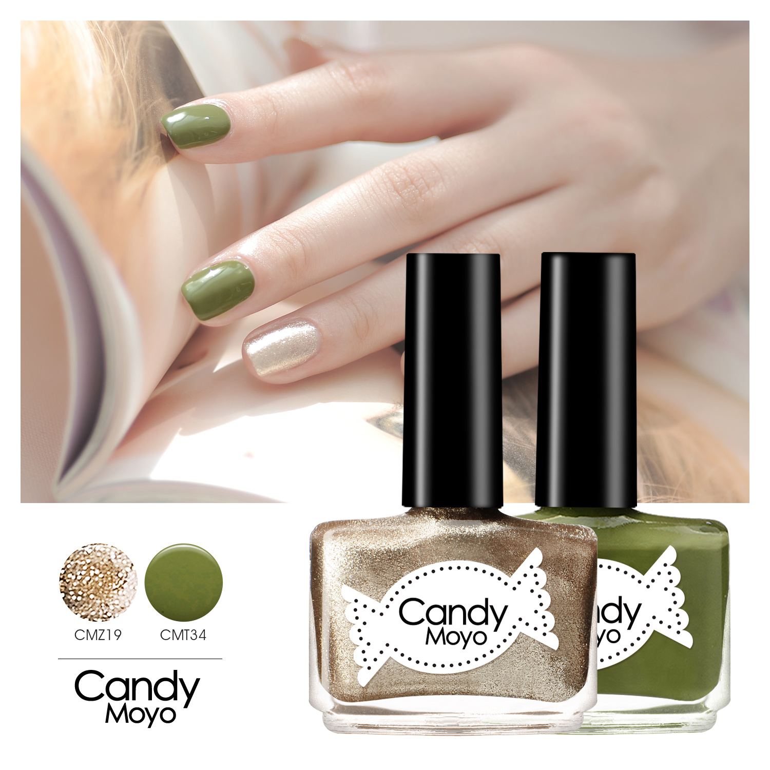 Candy moyo nail polish set candy color metal sequins gradient french manicure genuine environmental durable