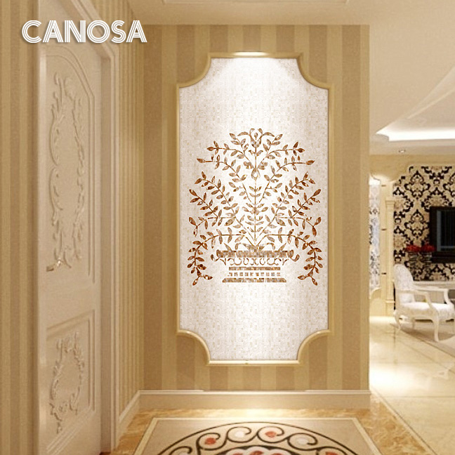 Canossa natural shell mosaic parquet living room entrance building materials tile puzzle backdrop money tree