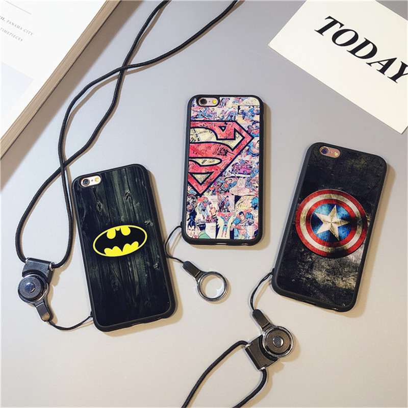 Captain america superman personality apple iphone6s phone shell silicone lanyard plus security sheathed 5s popular brands