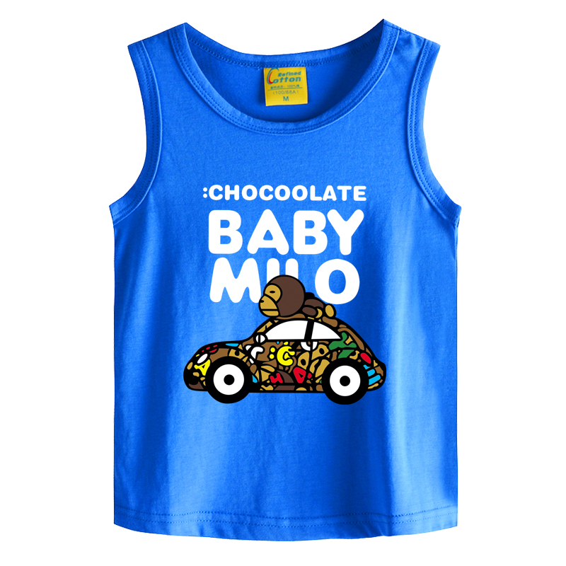 Car monkey kids boys summer vest sleeveless vest bottoming pure cotton summer thin section of children big virgin baby