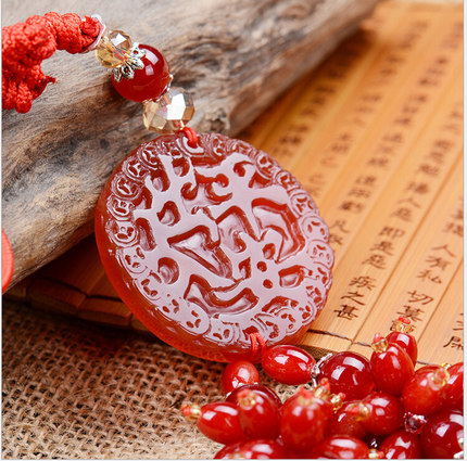 Car pendant jewelry agate pendant car rearview mirror pendant security and peace symbol pendant automotive supplies
