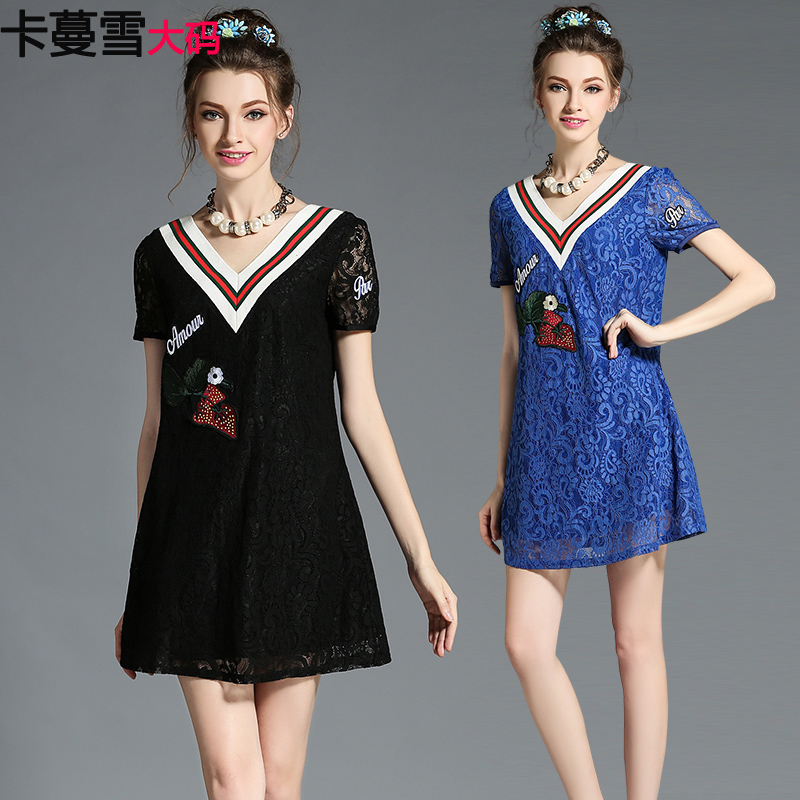 Card man snow in europe and america xl women fat mm summer v-neck was thin lace dress fashion fat sister summer dress