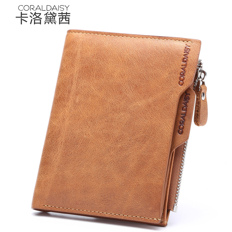 Carlo daisy wallet men short paragraph cowhide leather men's wallet multifunction wallet korean version of the 2016 new