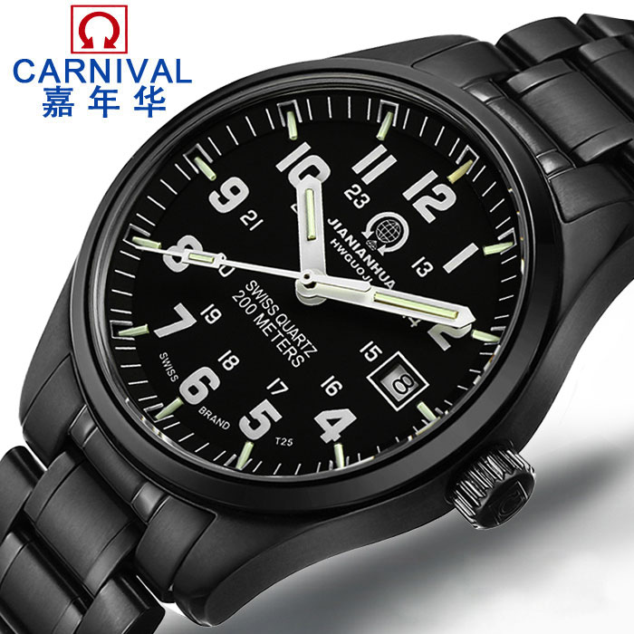 Carnival electronic watches men automatic strong luminous tritium gas light table male table quartz watch waterproof military form