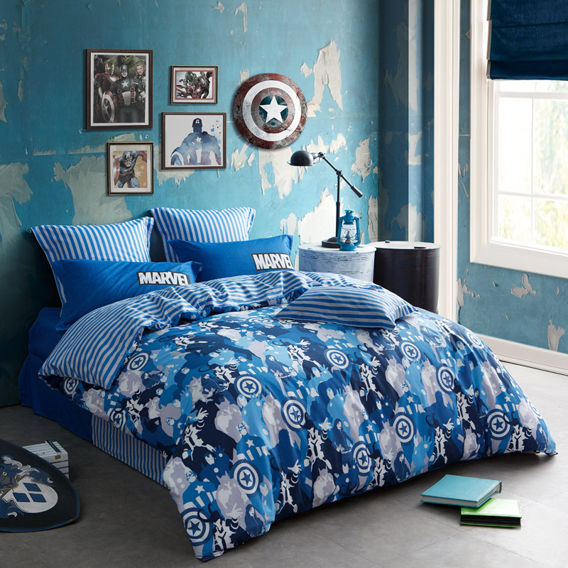 Carolina produced disney cartoon cotton bedding a family of four pieces of cotton bed linen quilt hero collection