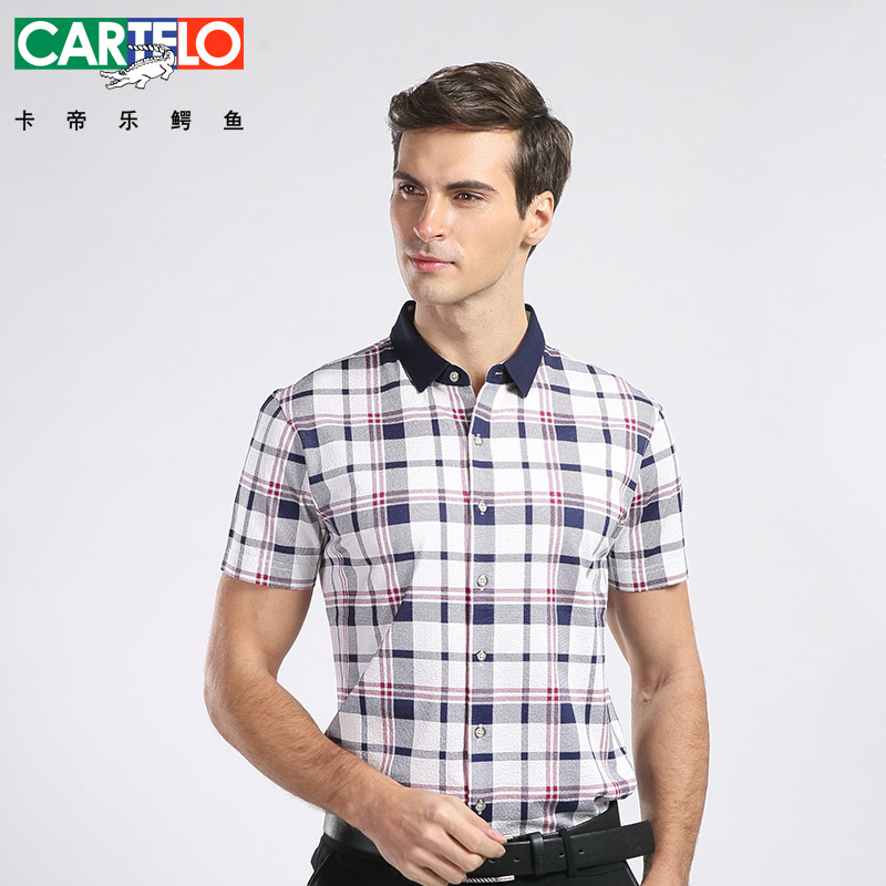 Cartelo/cartelo 2016 summer new men's business casual hit color short sleeve repair body shirts
