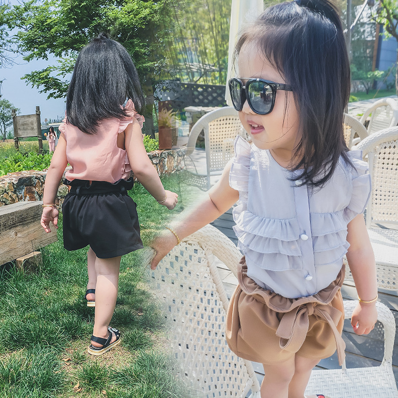 Cartoon ant kids girls 2016 summer new sweet sleeveless shirt baby shirt baby clothes for children on