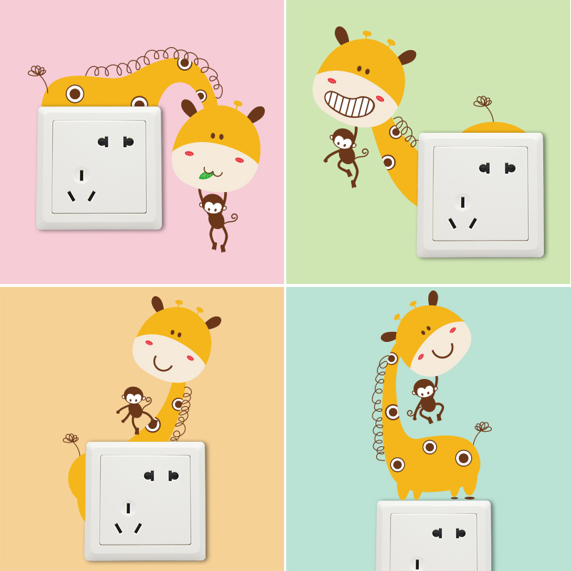 Cartoon children's room bedroom nursery stickers affixed switch socket switch stickers cute giraffe dress jewelry creative personality klimts