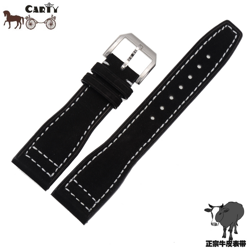 Carty tens of thousands of models male pin buckle leather watchband applicable iw portuguese pilot black suede
