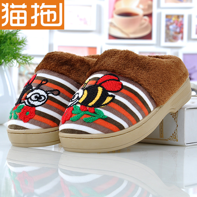 Cat dragged cute little bee cartoon children's slippers baby slippers cotton slippers home autumn and winter season men and women shoes slip paternity