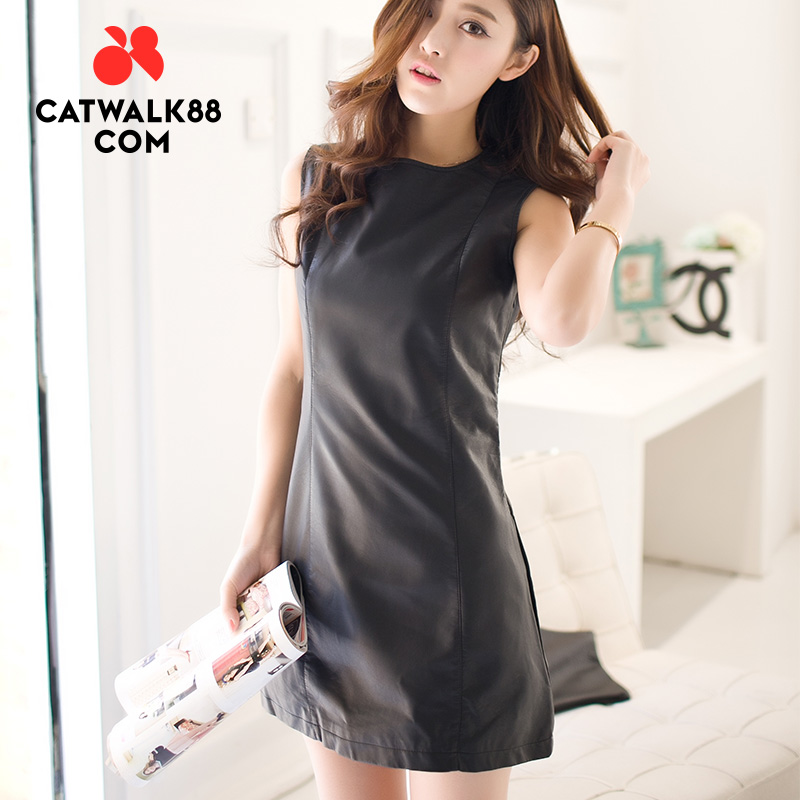 Catwalk88 spring and summer hot push 2015 new black women in europe and america style pu leather skirt sleeveless dress