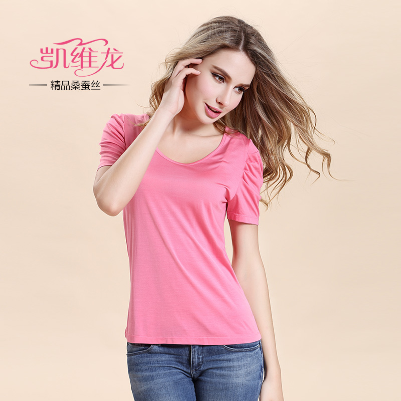 Cavey long 100% mulberry silk ladies round neck puff short sleeve t-shirt women's silk blouse silk fabrics