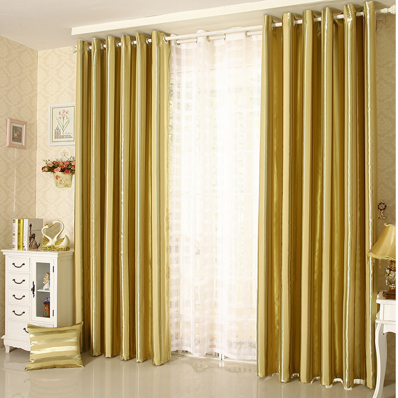 [Cd] thick stripes custom insulation full blackout curtains finished bedroom living room free shipping-sanko article